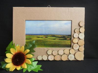 Porta foto beige con legnetti