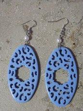 """Orecchini pendenti """"Leopardo"""" azzurri"""