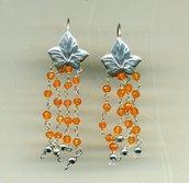 Orecchini pendenti in argento e calcedonio rosso millimetrato