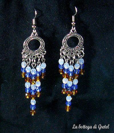 orecchini con chandelier e mezzi cristalli