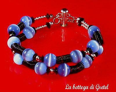 Bracciale perle azzurre e swarovski