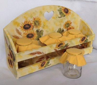 Mensola, Scaffale in legno decoupage Girasoli