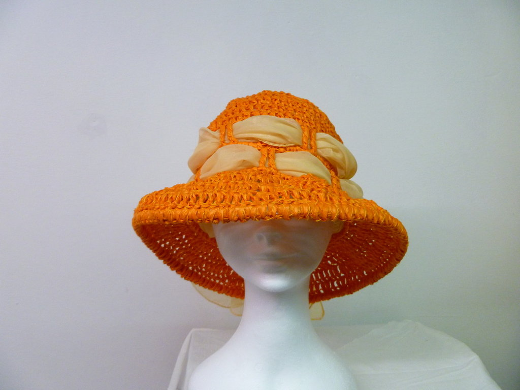 cappello in rafia arancio
