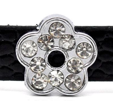 5 Perle fiore strass 12 mm adatto a Cinturini a fibbia in prenotazione