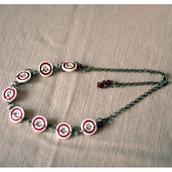 C3.14 - Girocollo con bottoni vintage e perline - Linea Flower Power