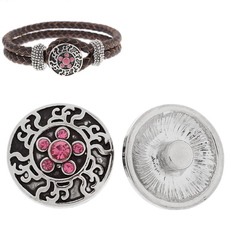 bottone a clip rosa strass fiore 20 mm