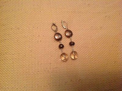 Orecchini argento con cristalli e perle di fiume