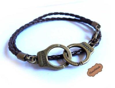 Bracciale MANETTE uomo FREEDOM bronzo doppio braccialetto polsino libertà