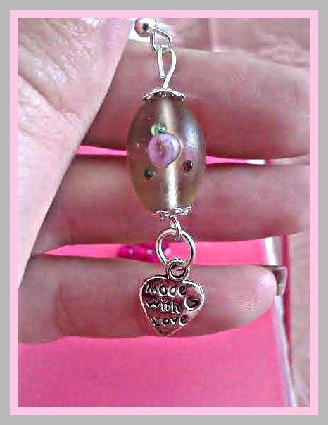 orecchini con fiore rosa