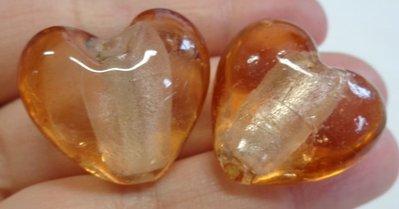 4 Perline CUORE in Vetro color SALMONE