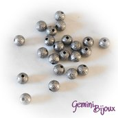 Lotto 10 perle stardust 6mm dark silver