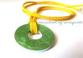 Collana ciondolo verde e cordoncino giallo - collezione HARDWARE di TRAMONTANA