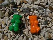 broche oursons orange et vert