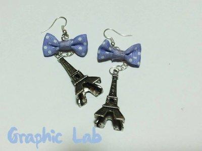 Orecchini con Tour Eiffel in argento e fiocchetti lilla a pois bianchi