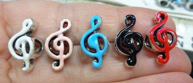 10 Perline Foro Largo Chiave di Violino 5 Colori
