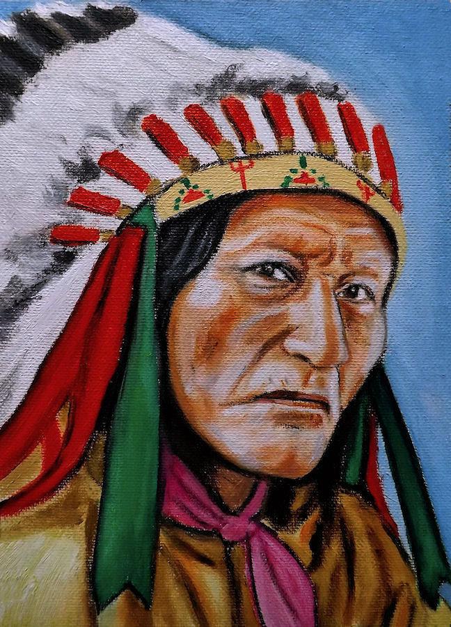ritratto nativo americano dipinto a mano olio