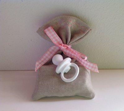Sacchetto bomboniera in misto lino