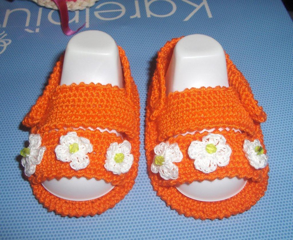 Sandali scarpine cotone neonato uncinetto