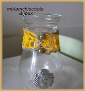 bracciale giallo a crochet