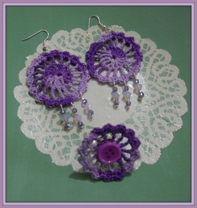 orecchini uncinetto viola sfumato