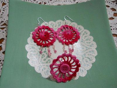 orecchini uncinetto rosa sfumato