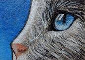 gatto dipinto a mano in formato aceo miniatura da collezione no stampa
