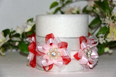 Candela diametro 10 cm, altezza 10 cm colore bianco effetto marmo