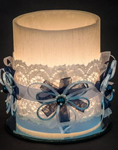 Candela lanterna diametro 12 cm altezza 15 cm colore bianco