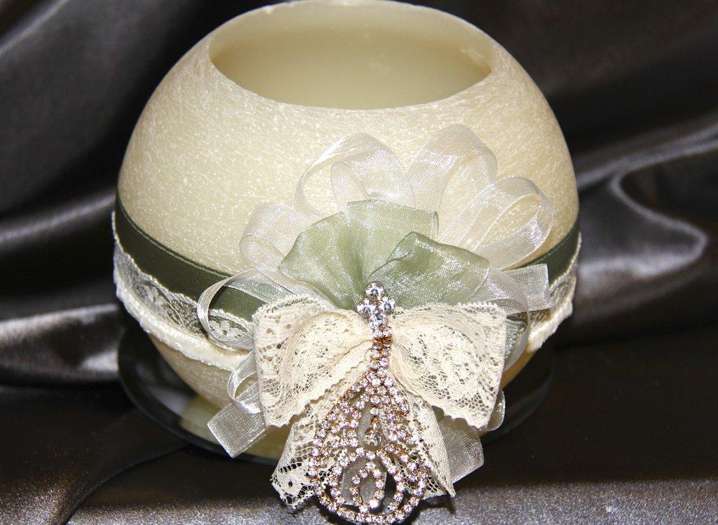 candela lanterna a sfera diametro 15 cm  colore bianco