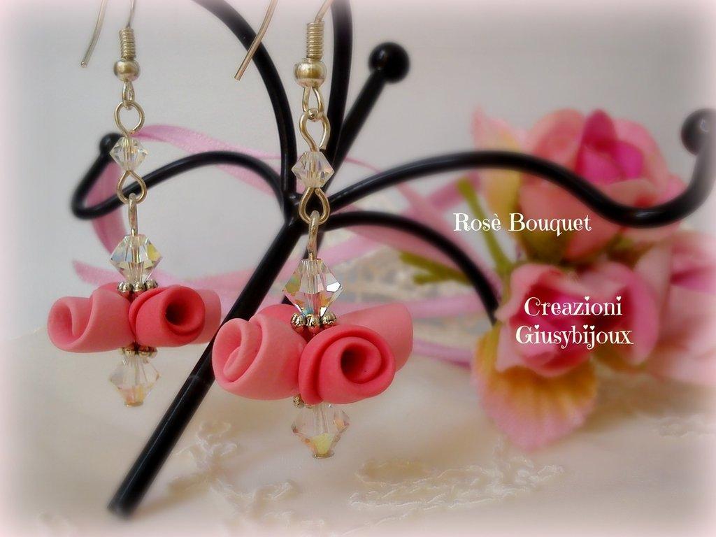 """Orecchini Rosè Bouquet in polymer clay e swarovski collezione """"Bouquet di rose"""""""