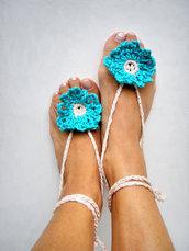 Gioiello per il piede Hippy chic Boho sandali per piscina moda estate Yoga Turchese