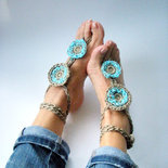 Coppia cavigliere / gioiello per il piede / sandali piscina /accessori donna / moda Yoga / hippy chic / turchese / Boho moda mare
