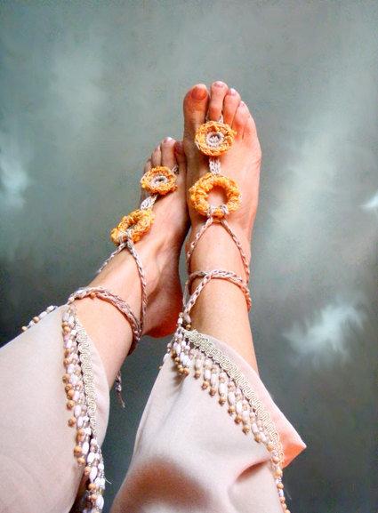 Coppia cavigliere gioiello hippy chic Boho moda mare sandali per piscina moda estate Yoga Giallo sole