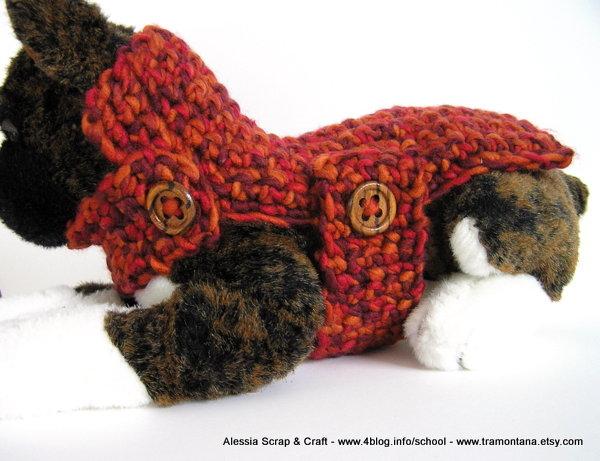 Red Fall Dog - cappottino a crochet uncinetto per cani o gatti Xsmall