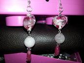 orecchini con cuore in vetro