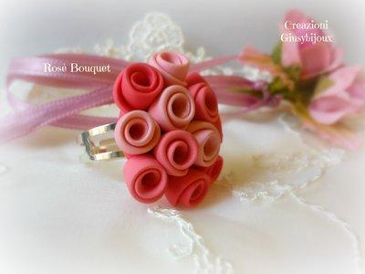"""Anello Rosè Bouquet  in fimo collezione """"Bouquet di rose"""" misura regolabile"""