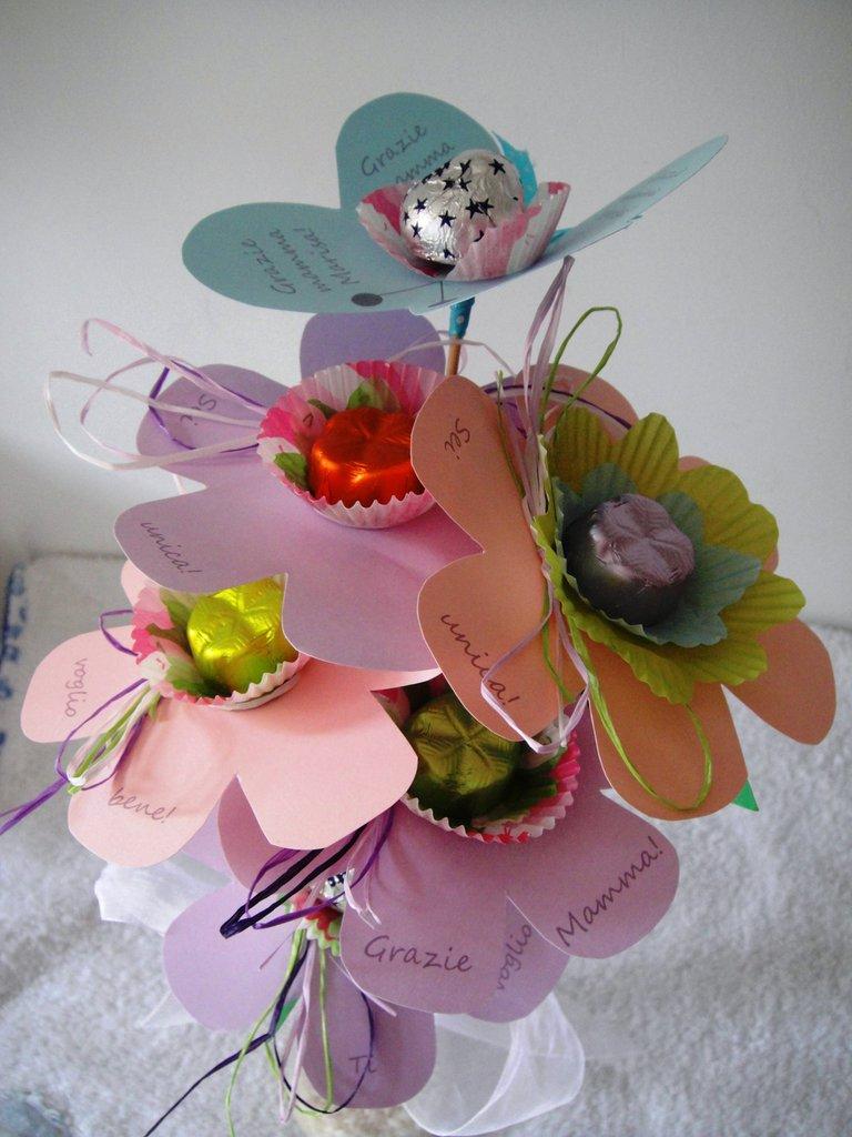 """Dolce bouquet """"W LA MAMMA!"""" -  Bouquet porta cioccolatini idea regalo per la festa della mamma"""
