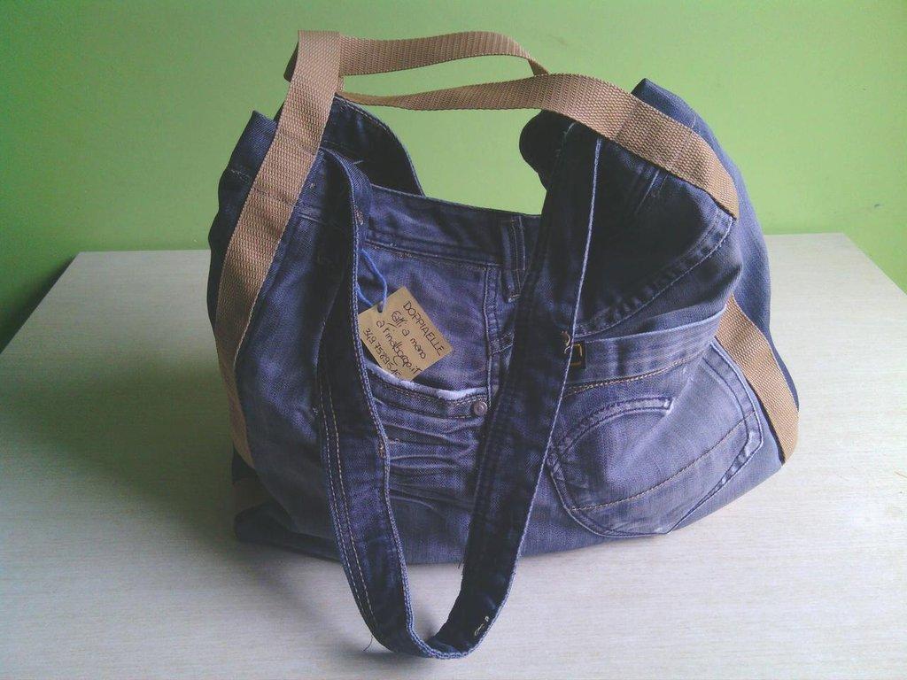 vendita calda online efa7e f72c2 borsa in jeans fatta a mano B001