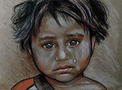 ritratto bambina indiana pastelli su cartoncino