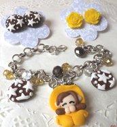 SALDI!!IDEA REGALO PER QUESTO NATALE!Folletta golosa con pan di stelle e orecchini abbinati con rose e biscotti