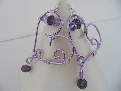 Orecchini Wire Cuore Viola