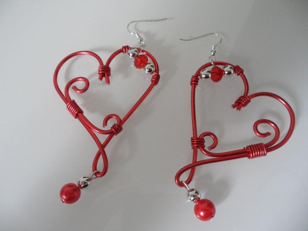 Orecchini Wire Cuore Rosso