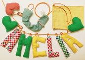 Set nascita: una ghirlanda ed una catenella portaciuccio per il nuovo arrivo (un'idea regalo nascita super personalizzata!!!)