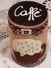 barattolo per il caffè rivestito in feltro