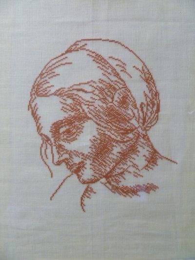 quadro donna con fazzoletto