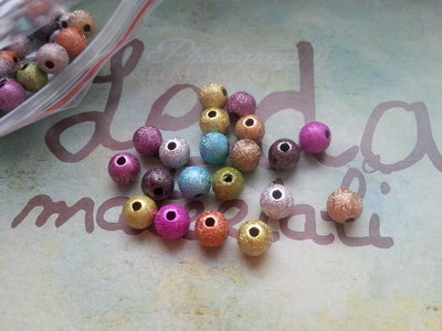 50 perle glitterate 6mm