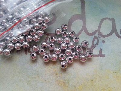 50 Perle colore argento 5mm