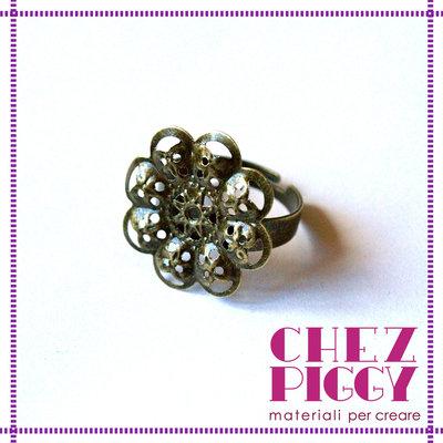1 x base anello con filigrana - color bronzo
