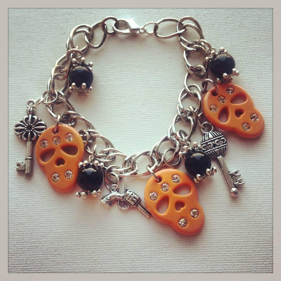 Bracciale teschietti arancioni