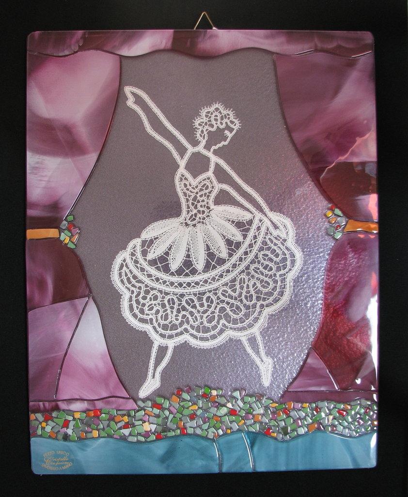 """Quadro """"ballerina"""" in pizzo di cantù e cristallo"""